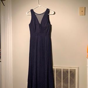 Sparkly Navy Floor-length Gown